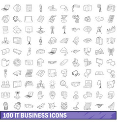 100 it business icons set outline style vector