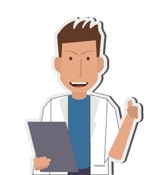Doctor or medic with clipboard icon vector