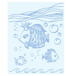 Gold fish with a crown in the sea environment vector