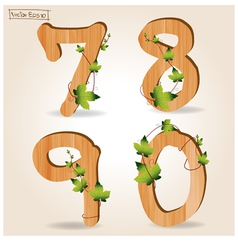 Wood alphabet number with branch green leaves vector