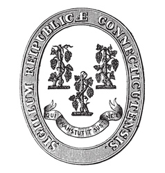Connecticut seal vintage engraving vector