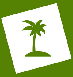 Coconut palm tree sign  white icon vector