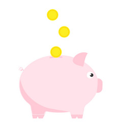 pink piggy bank with three coins symbol deposit vector image