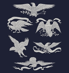 Hand Drawn Vintage Eagle Set vector image