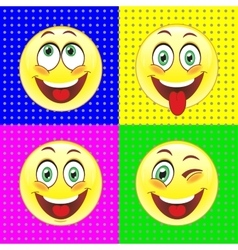 Cheerful smiles on bright backgrounds vector