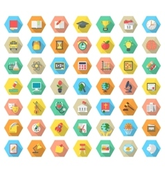 Flat hexagonal school subjects icons with long vector