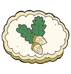 Comic cartoon acorn symbol vector