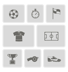 Monochrome set with soccer icons vector