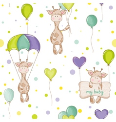 Baby giraffe background seamless pattern vector