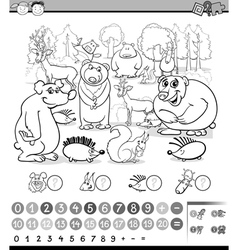 Counting animals coloring book vector