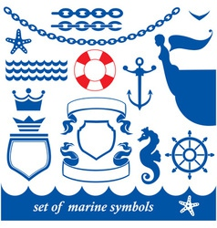 Set of marine elements - chain anchor crown vector