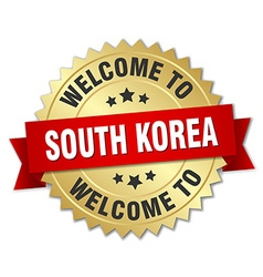 South korea 3d gold badge with red ribbon vector