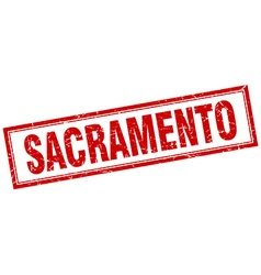 Sacramento red square grunge stamp on white vector