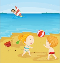 Kids playing at beach vector