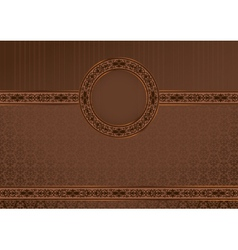 Vintage horizontal card on damask background vector