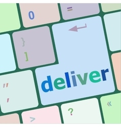 Deliver button on computer keyboard vector