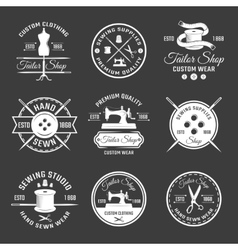 White tailor emblem set vector
