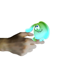 Background with hand holds little monster vector