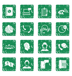 Call center symbols icons set grunge vector