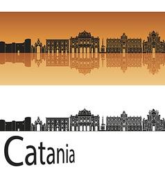 Catania skyline in orange background vector image