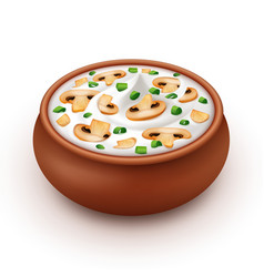 Ceramic pot of cream sauce with onion champignons vector