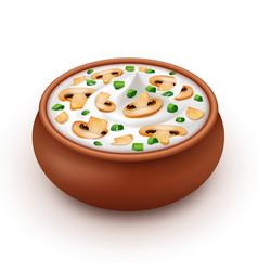 Ceramic pot of cream sauce with onion champignons vector