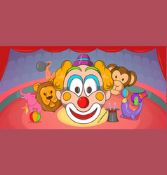 Circus horizontal banner clown cartoon style vector