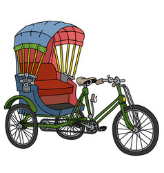 Classic tricycle rickshaw vector