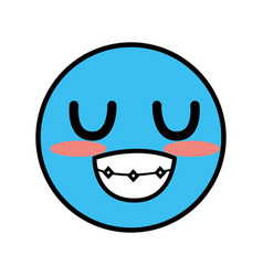 Cute kawaii beautiful face smile and happy vector