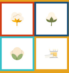 Flat icon cotton set of cotton flower knitting vector