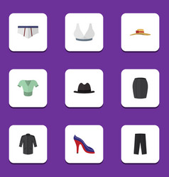 Flat icon garment set of casual brasserie pants vector