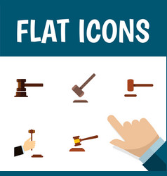 flat icon hammer set of government building vector image vector image