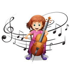 girl playing cello alone vector image vector image