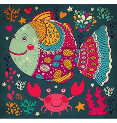 Happy fish vector image