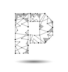 Low poly letter p english latin cyrillic vector