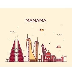 Manama skyline silhouette linear style vector image vector image