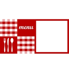 Menu design Red tablecloth cutlery and white for vector image vector image