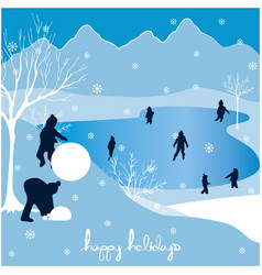 merry christmas happy holidays landscape 3 vector image vector image