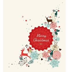 Merry Christmas vintage circle label vector image vector image