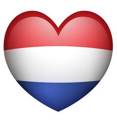 Netherland flag in heart shape vector