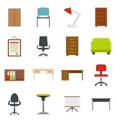 Office furniture icons set in flat style vector