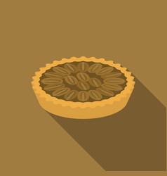 Pecan pie in flat design with long shadow vector