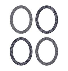 set of four oval meander frames vector image