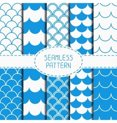 Set of seamless retro vintage blue marine vector image vector image