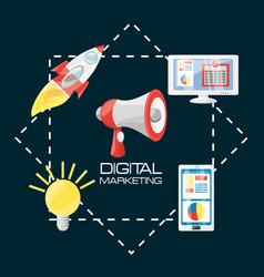 Smartphone rocket bulb and computer digital vector