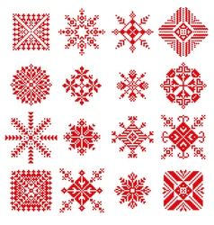 snowflake in embroidery russian style vector image vector image