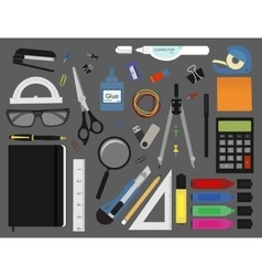 Stationery tools color vector
