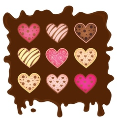 sweetmeats in form heart on chocolate background vector image vector image