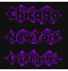 The collection of names big cities in a unique vector image vector image
