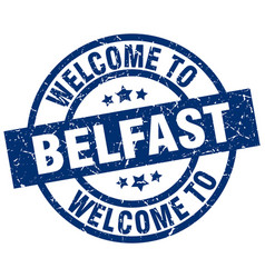 Welcome to belfast blue stamp vector